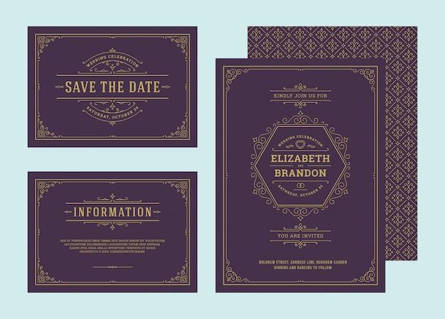 Impostare inviti di nozze fiorisce carte ornamenti. invita, salva la data e il design delle informazioni. Vettore Premium