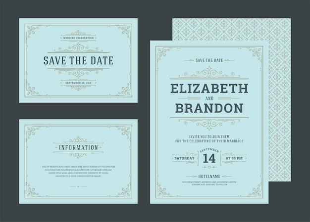 Impostare gli inviti di nozze fiorisce le carte di ornamenti Vettore Premium