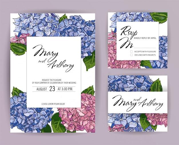 Set di partecipazioni di nozze, ortensia invito card design Vettore Premium