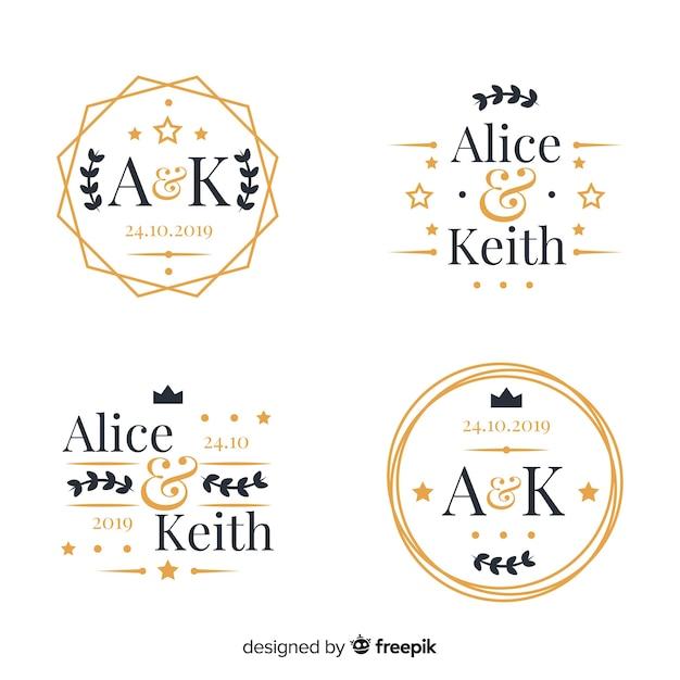 Set di loghi monogramma di nozze Vettore Premium