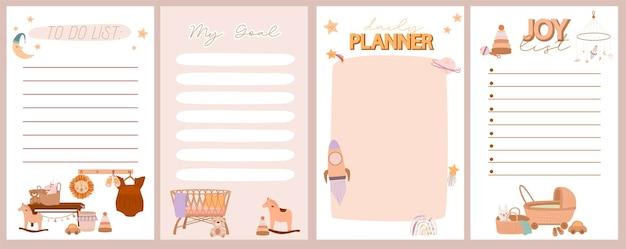 Set di pianificatore settimanale e giornaliero, elenco di gioia, elenco di cose da fare con simpatico doodle boho baby in stile scandinavo. Vettore Premium