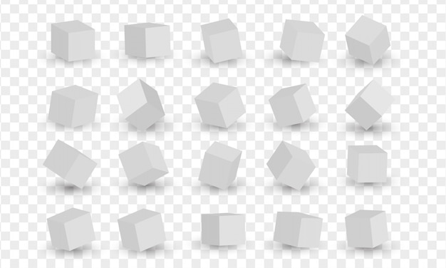 Insieme dei blocchi bianchi 3d, cubi. illustrazione vettoriale di modellazione 3d Vettore Premium