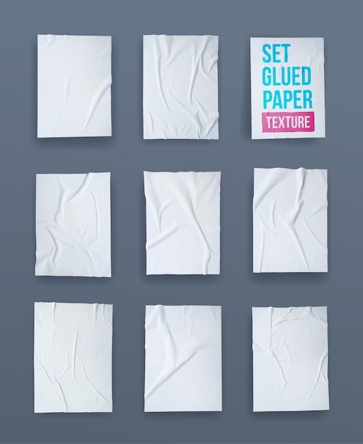 Set di carta incollata bianca effetto stropicciato. Vettore Premium