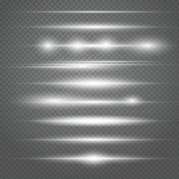 Set di razzi bianchi orizzontali. raggi laser, raggi di luce orizzontali. bellissimi bagliori di luce. Vettore Premium