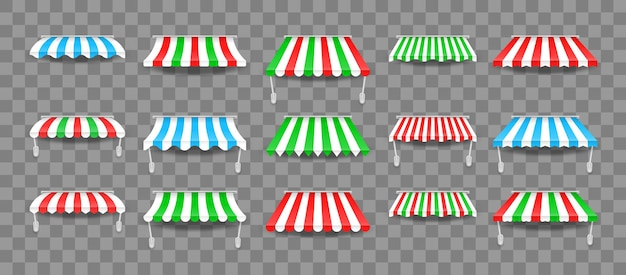 Set di tendalini per finestre. tende da sole colorate a righe per negozi, hotel, bar e ristoranti di strada. Vettore Premium