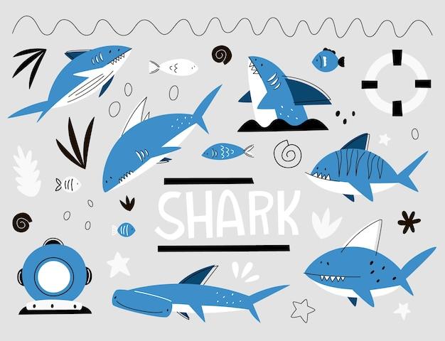Impostato con gli squali dei cartoni animati. diversi tipi di squali, pesci, salvagente, casco da sub. Vettore Premium