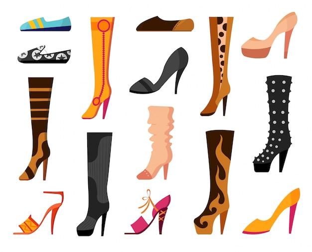 Set con diversi tipi di scarpe da donna di tendenza balletti, scarpe da ginnastica, stivali, scarpe basse, décolleté, converse. illustrazione vettoriale Vettore Premium