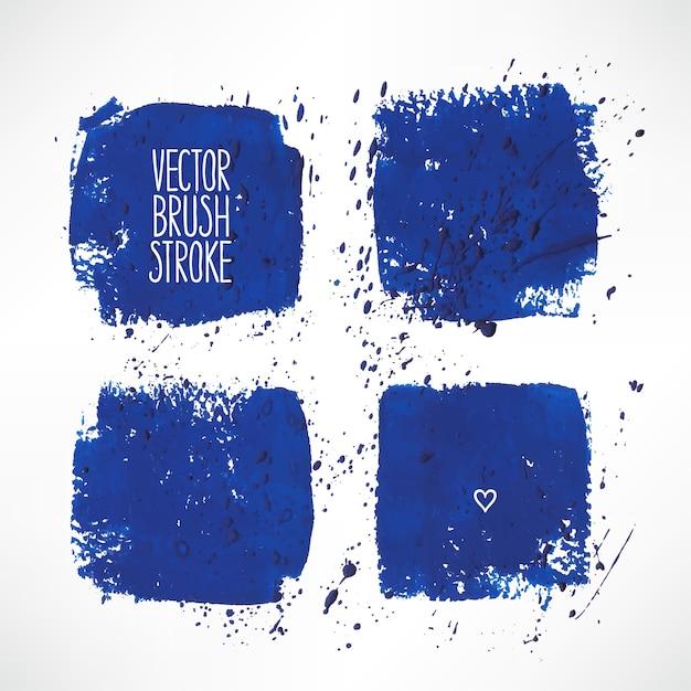 Set con quattro sfondi a tratti blu. illustrazione disegnata a mano Vettore Premium