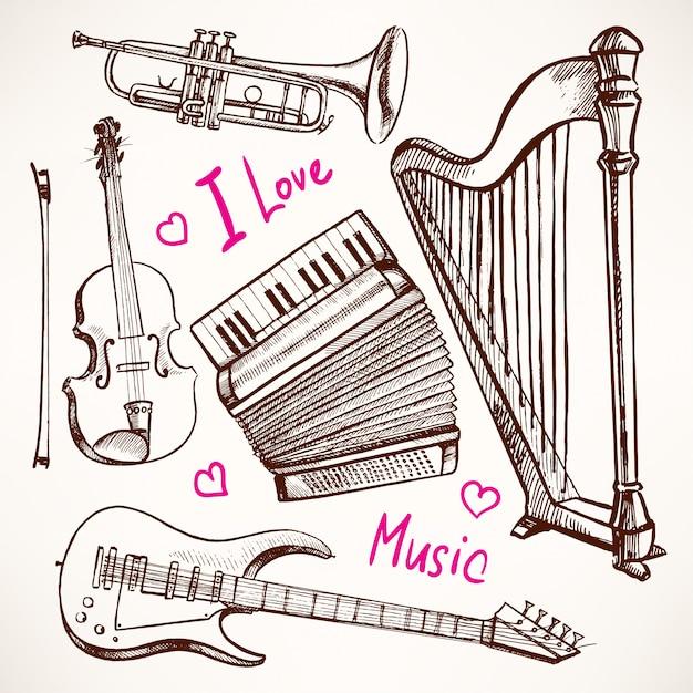 Set con strumenti musicali. fisarmonica, violino, basso elettrico. illustrazione disegnata a mano. fisarmonica, violino, basso elettrico Vettore Premium