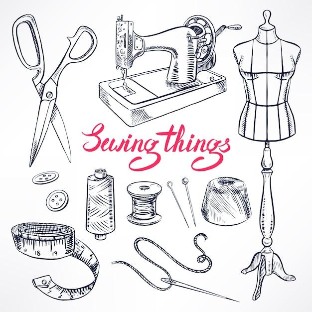 Set con attrezzatura di sartoria schizzo. manichino, cucito, macchina da cucire. illustrazione disegnata a mano Vettore Premium