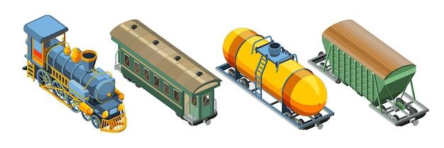 Set con locomotiva a vapore, carrozza ferroviaria passeggeri, vagone merci, carro armato. vettore grafico del treno retrò vintage. Vettore Premium