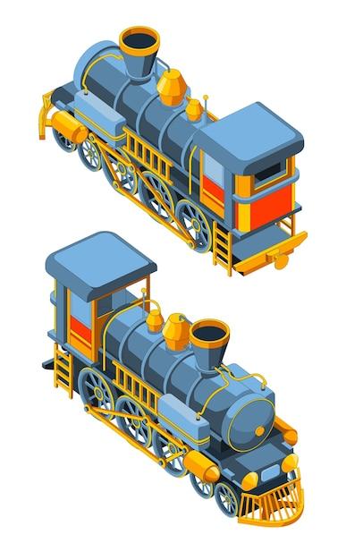 Set con due viste anteriore e posteriore di una locomotiva a vapore. grafica vettoriale vintage retrò treno blu. isolato su sfondo bianco. Vettore Premium