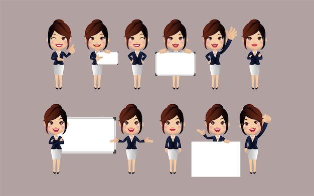 Set di caratteri donna. Vettore Premium