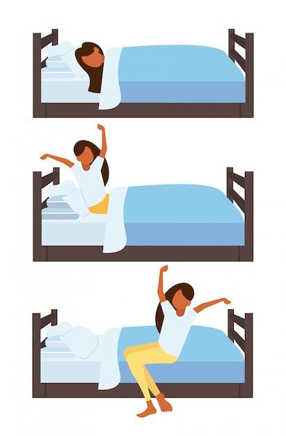 Impostare donna che dorme allungando le braccia svegliarsi la mattina ragazza sul letto personaggio dei cartoni animati femminile pone diverse raccolta verticale Vettore Premium