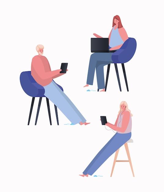 Set di donne e uomini con laptop e tablet che lavorano sul design della sedia del tema work from home Vettore Premium