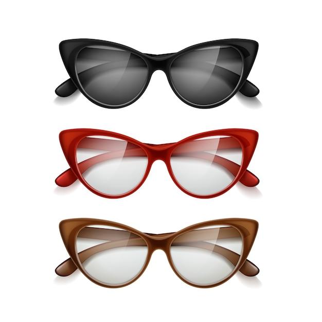 Set di occhiali da sole da donna diversi colori in stile retrò isolato su sfondo bianco Vettore Premium