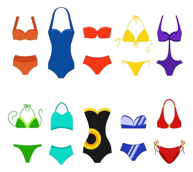 Set di costume da bagno donna isolato su sfondo bianco. costumi da bagno bikini per il nuoto. illustrazione di moda bikini, tankini e monokini Vettore Premium
