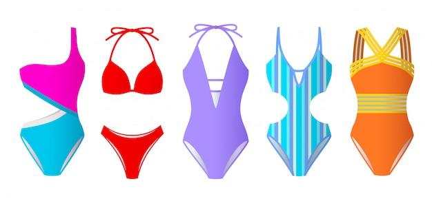 Set di costumi da bagno donna, bikini colorati e monokini Vettore Premium