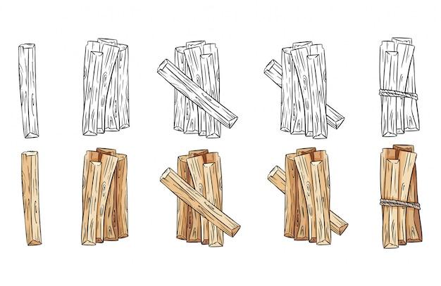 Set di bastoncini di legno in bianco e nero e fasci colorati. collezione di bastoncini di aroma di palo santo dall'america latina. immagini isolate su sfondo bianco Vettore Premium