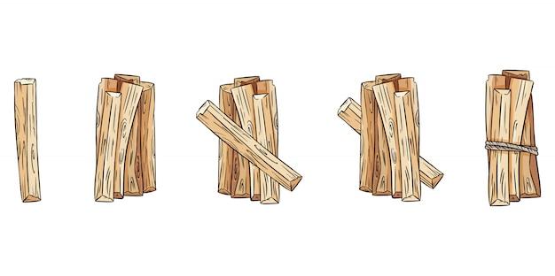 Set di fasci di bastoncini di legno. collezione di bastoncini di aroma di palo santo dall'america latina. Vettore Premium