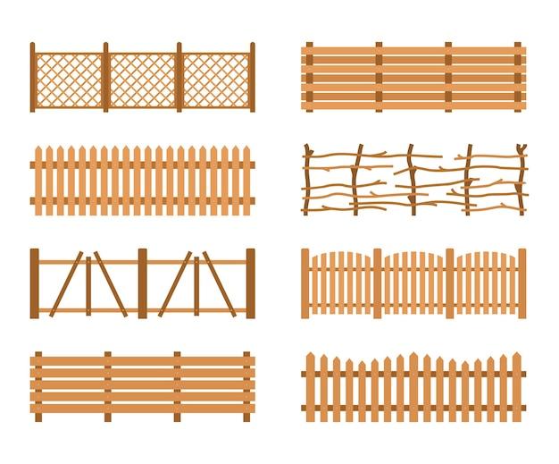 Impostare recinzioni in legno. recinzioni da giardino diverse. costruzione di sagoma di tavole di legno di recinzione rurale Vettore Premium