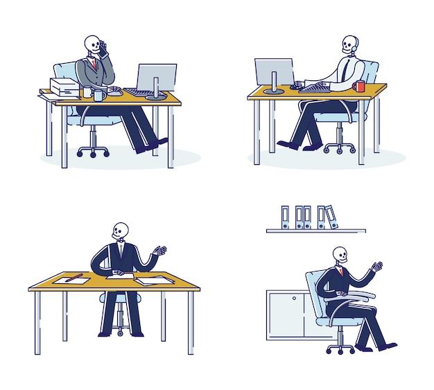 Set di scheletri di impiegati maniaco del lavoro nei luoghi di lavoro. uomini d'affari del cranio morti dal lavoro. esausto oberati di lavoro imprenditori maniaci del lavoro Vettore Premium