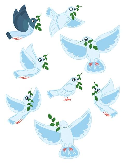 Set di piccioni del mondo con un ramo di un'oliva. collezione di colombe bianche volanti. Vettore Premium