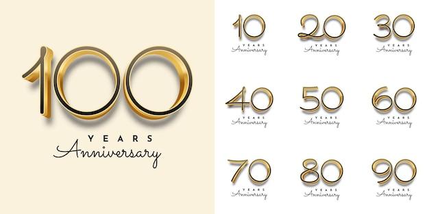 Impostare anni anniversario numero d'oro modello di illustrazione Vettore Premium