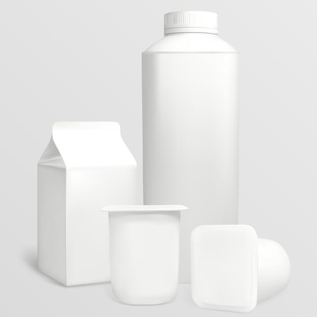 Metti i cartoni dello yogurt. ogni oggetto può essere utilizzato separatamente. l'illustrazione contiene maglie sfumate. Vettore Premium