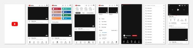 Set di cornice modello youtube per i social media Vettore Premium