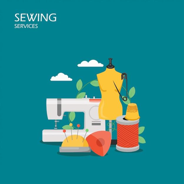 Illustrazione di stile piano di servizi di cucito Vettore Premium
