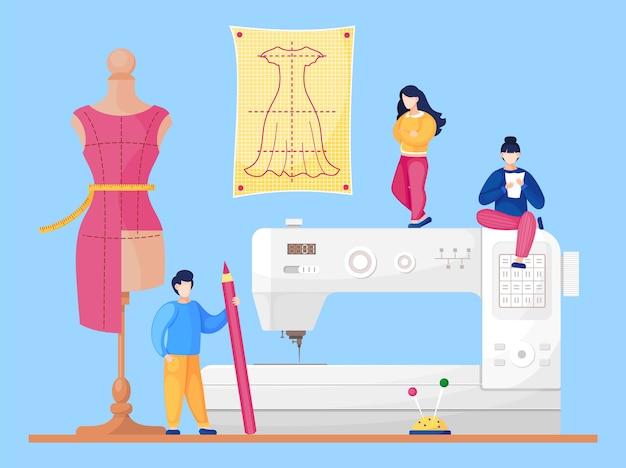 Laboratorio di cucito con designer a sfondo macchina da cucire. Vettore Premium
