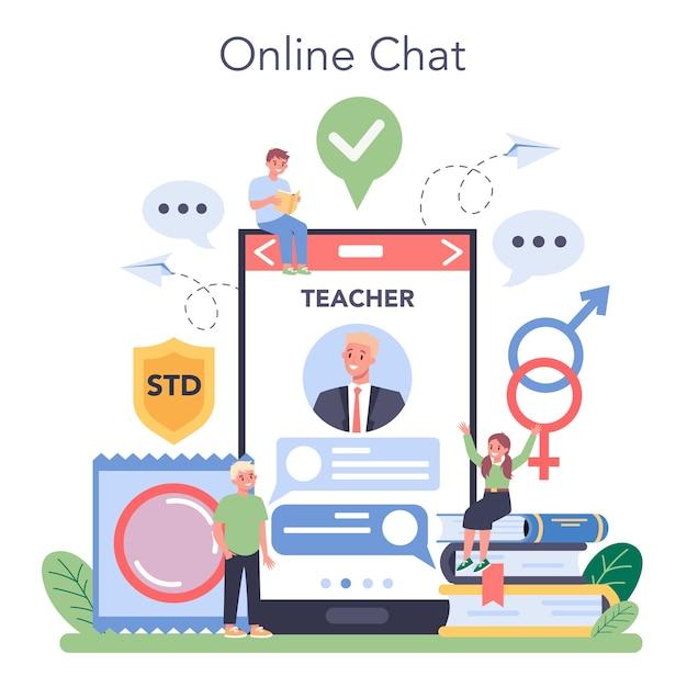 Piattaforma o servizio online di educazione sessuale. Vettore Premium