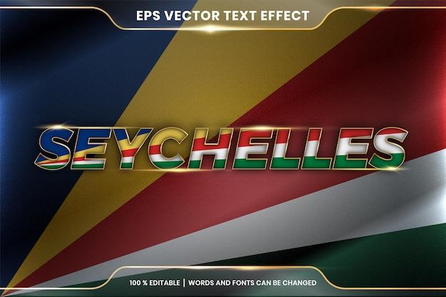Seychelles con la bandiera sventolante del paese nazionale, stile di effetto testo modificabile con concetto di colore oro sfumato Vettore Premium