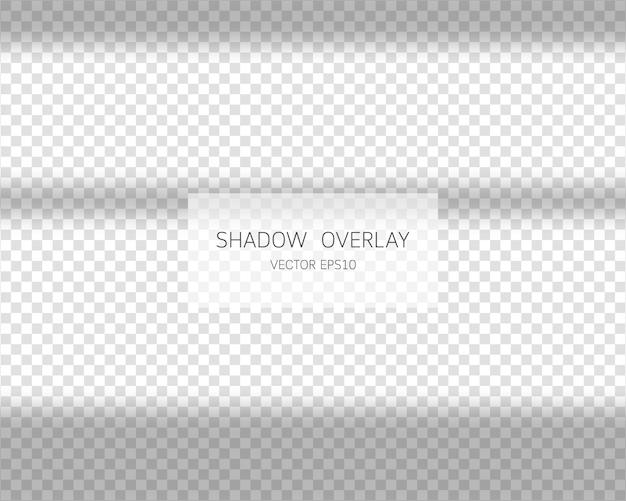 Effetto di sovrapposizione dell'ombra. ombre naturali dalla finestra su sfondo trasparente. illustrazione. Vettore Premium