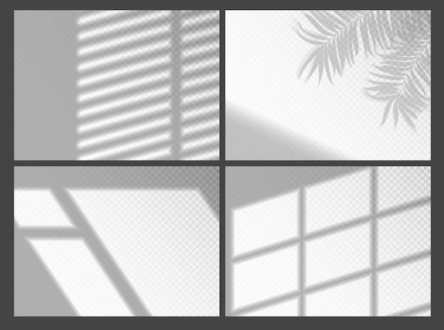 Sovrapposizioni ombra per la presentazione del mockup. cornice della finestra di ombra e gelosia organica di palma per effetti di luce naturale. sfondo decorativo grigio realistico luce e ombra della finestra Vettore Premium