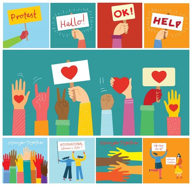 Condividi il tuo amore. mani e persone con il cuore come massaggi d'amore. illustrazione per san valentino in stile moderno appartamento Vettore Premium