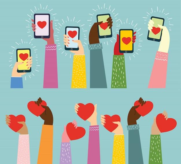 Condividi il tuo amore. mani con il cuore come massaggi d'amore. illustrazione per san valentino in stile piatto Vettore Premium