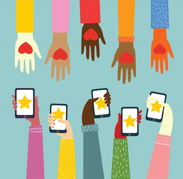 Condividi il tuo amore. mani con cuori e telefoni con cuori come massaggi d'amore. illustrazione vettoriale per san valentino in stile piatto Vettore Premium