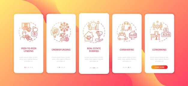 Condivisione dell'economia nella schermata della pagina dell'app mobile con concetti Vettore Premium