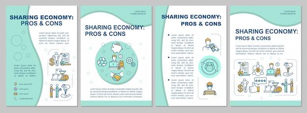 Modello di brochure per pro e contro della condivisione dell'economia Vettore Premium
