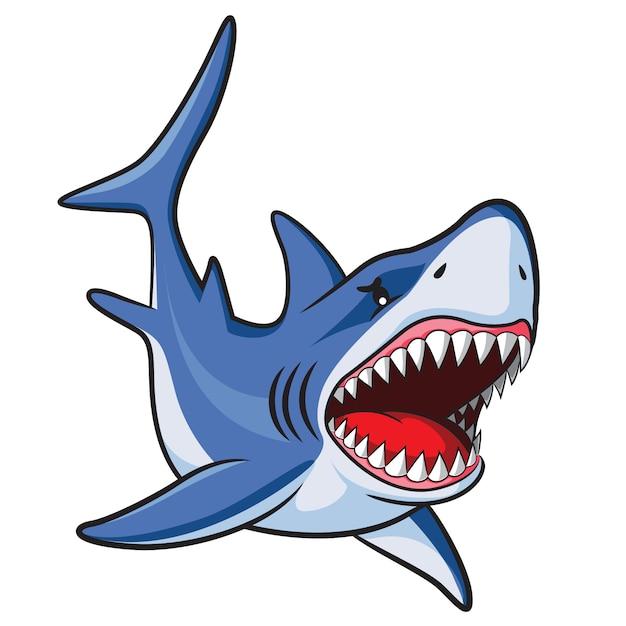 Cartone animato squalo Vettore Premium