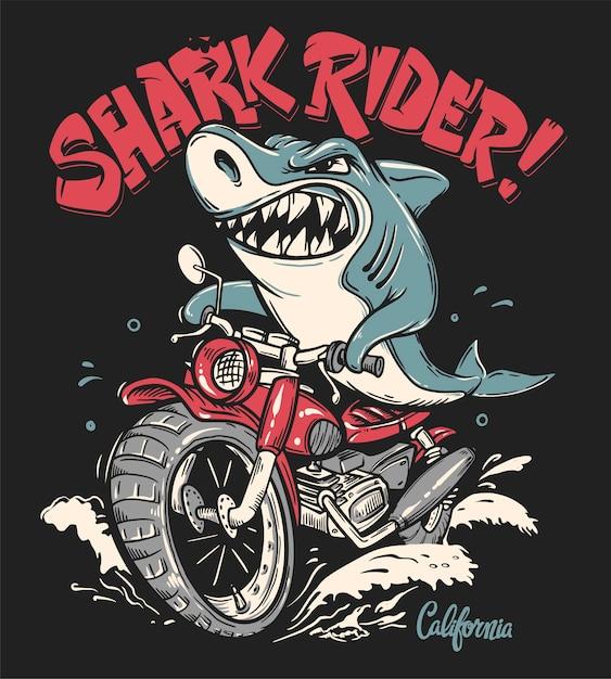 Shark rider sul design della maglietta da motociclista Vettore Premium