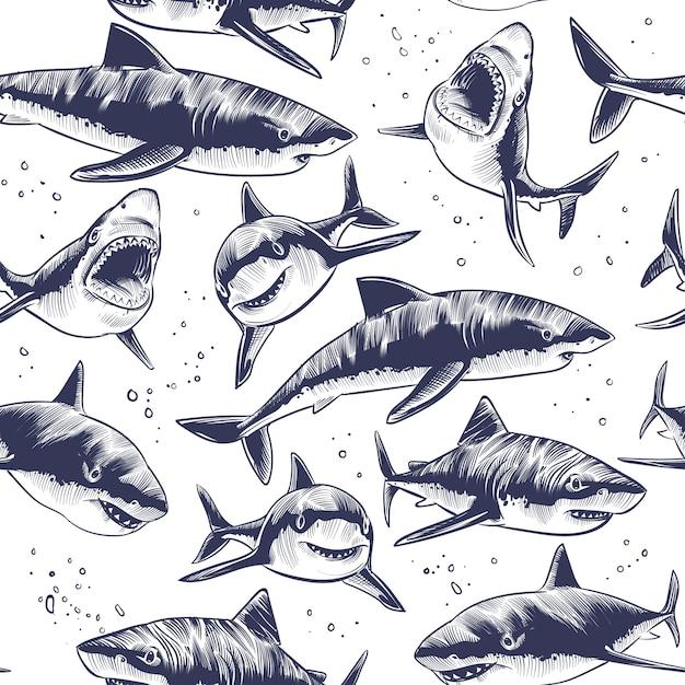 Modello senza cuciture di squali fondo giapponese nautico del pesce di mare subacqueo disegnato a mano Vettore Premium