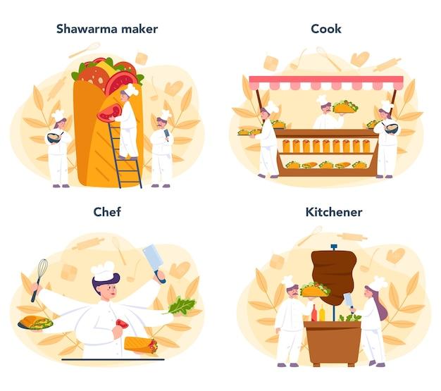 Shawarma street food concept set. cuoco unico che cucina delizioso rotolo con carne, insalata e pomodoro. caffè fast food kebab. Vettore Premium