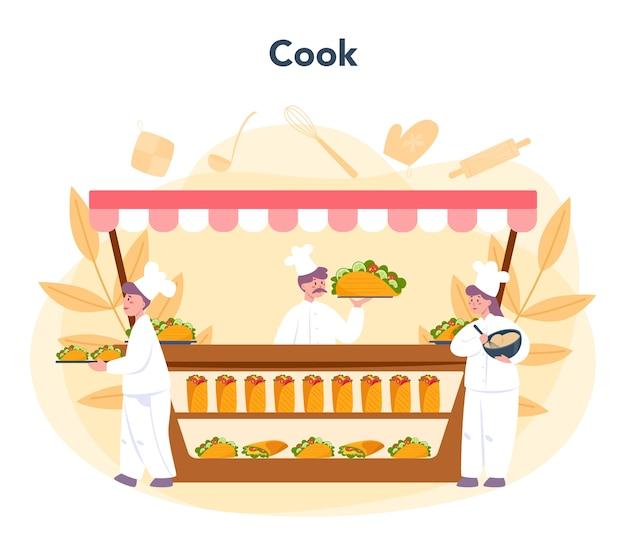 Shawarma street food concept Vettore Premium