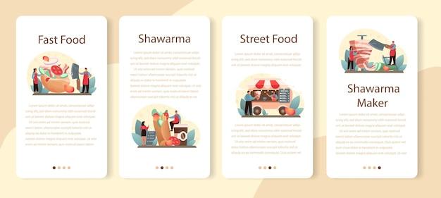 Set di modelli di applicazione mobile shawarma street food. cuoco unico che cucina delizioso rotolo con carne, insalata e pomodoro. caffè fast food kebab. Vettore Premium