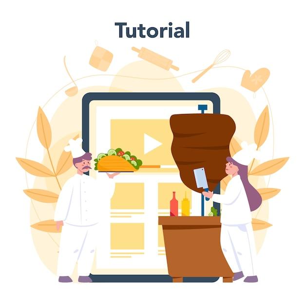 Servizio o piattaforma online di cibo di strada shawarma Vettore Premium