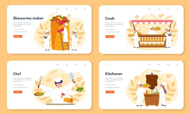 Banner web shawarma street food o set di pagine di destinazione Vettore Premium