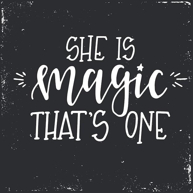 È magica che è un poster o carte di tipografia disegnati a mano. Vettore Premium